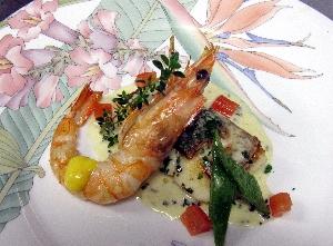 鯛と天使の海老の料理
